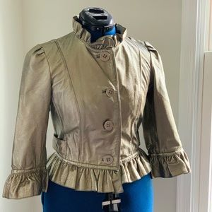 GUESS Metallic Ginuine Leather Cropped Jacket